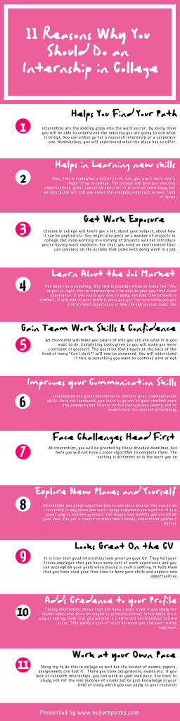 11 Reasons Why You Should Do an Internship in College - infographic - nupurspeaks